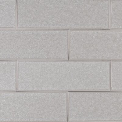 Frosted Icicle 3 x 9 Glass Subway Tile in White