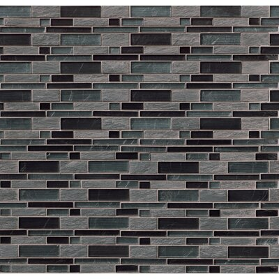 Perspective Blend Interlocking Pat Random Sized Glass/Stone Mosaic Tile in Gray