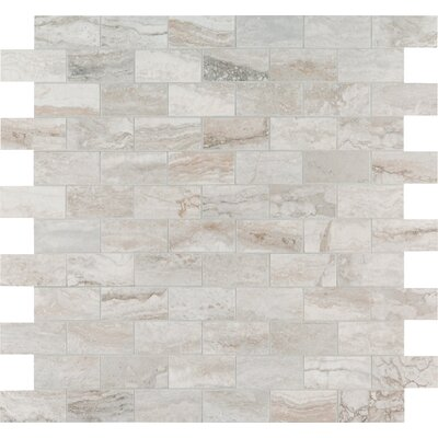 Bernini Pietra Camo Polished 2 x 4 Porcelain Subway Tile in Gray