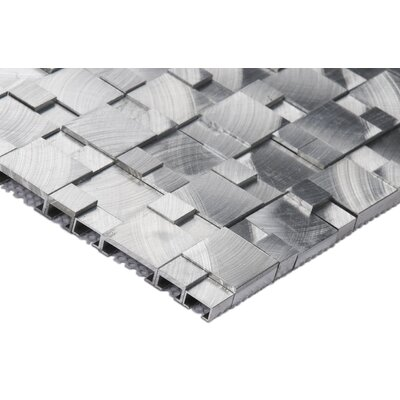 Brushed Pattern Random Sized Aluminum Tile in Gray