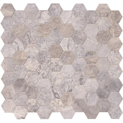 Hexagon 3 x 3 Travertine Tile in Gray
