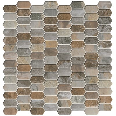Taos Picket Pattern Random Sized Glass Tile in Brown/Gray