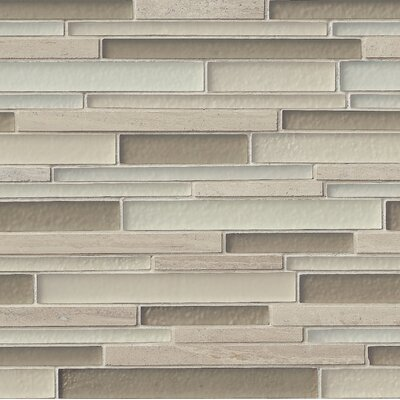 Truffle Stone Interlocking Pattern Random Sized Glass/Stone Tile in Beige