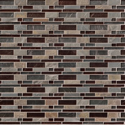 Urbano Blend Interlocking Pattern Random Sized Glass Tile in Brown