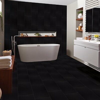 Domino 24 x 24 Porcelain Field Tile in Black (Set of 3)