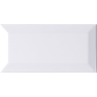 Glossy Beveled 3 x 6 Ceramic Subway Tile in White