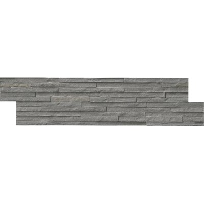 Pencil Ledger Panel 6 x 24 Natural Stone Splitfaced Tile in Charcoal