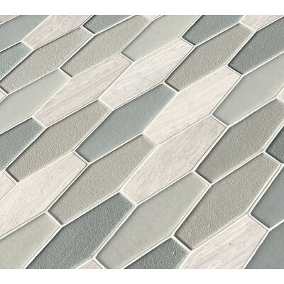 Europa Elongated Hexagon Glass/Stone Mosaic Tile in Beige