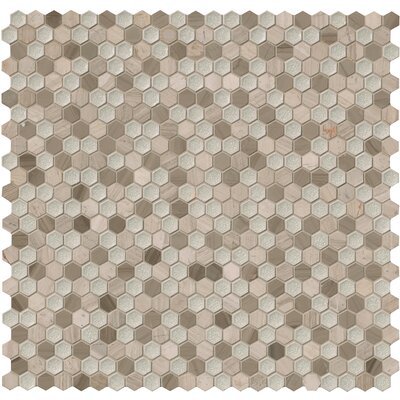 Hexham Hexagon 1 x 1 Glass/Stone Mosaic Tile in Gray