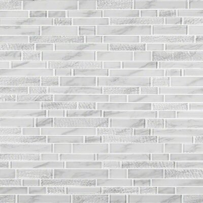 Calypso Interlocking Pattern Random Sized Glass Mosaic Tile in White