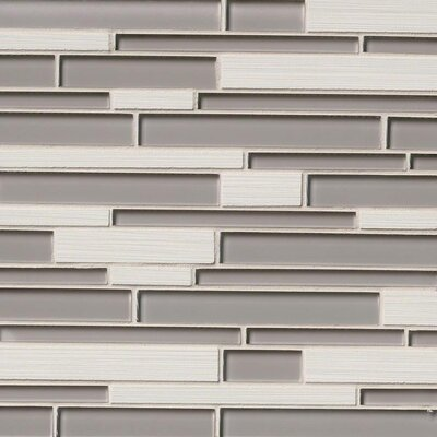 Metro Glacier Blend Interlocking Random Sized Porcelain/Glass Mosaic Tile in Gray