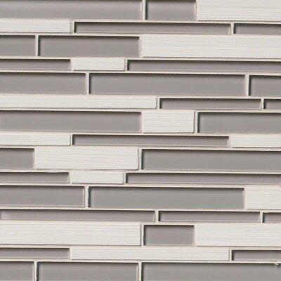 Metro Glacier Blend Interlocking Random Sized Porcelain/Glass Mosaic Tile in Gray