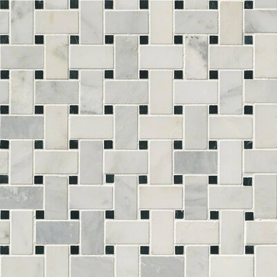 Greecian Basketweave Pol Marble Mosaic Tile in White