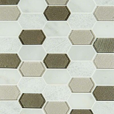 Inessa Blanco Picket Pattern Glass/Stone Mosaic Tile in Gray/White