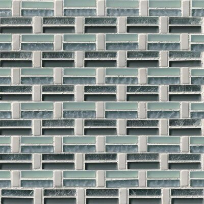 Ocean Wave Pattern Glass/Stone Mosaic Tile in White/Green