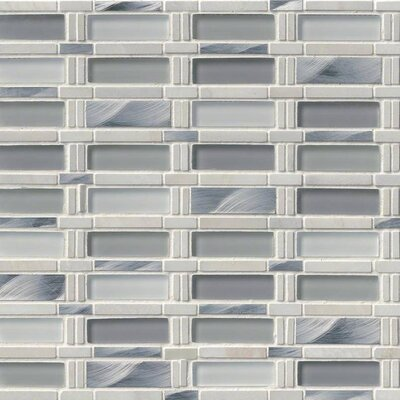 Icelandic Blend Pattern Glass/Stone/Metal Mosaic Tile in White