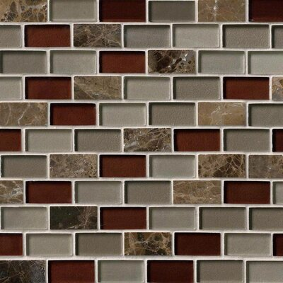 Royal Canyon Brick 1 x 2 Glass/Stone Mosaic Tile in Brown