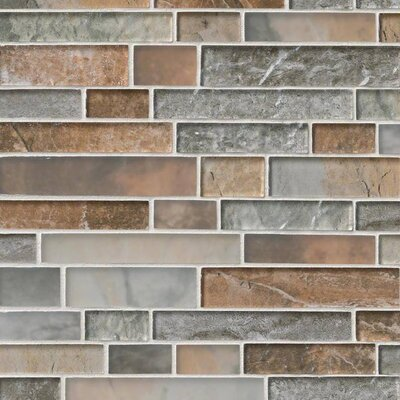 Taos Interlocking Pattern Random Sized Glass Tile in Brown/Gray
