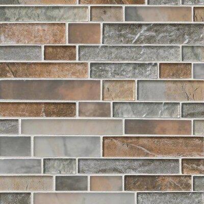 Taos Interlocking Pattern Random Sized Glass Tile in Brown/Gray
