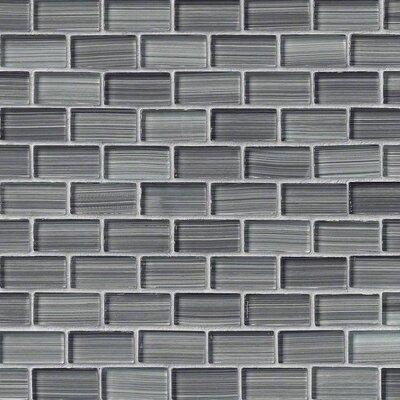 Winter Brick 1 x 2 Glass Tile in Gray
