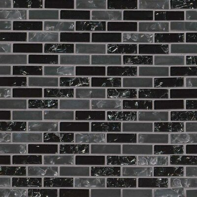 Glissen 0.62 x 2 Glass Mosaic Tile in Black