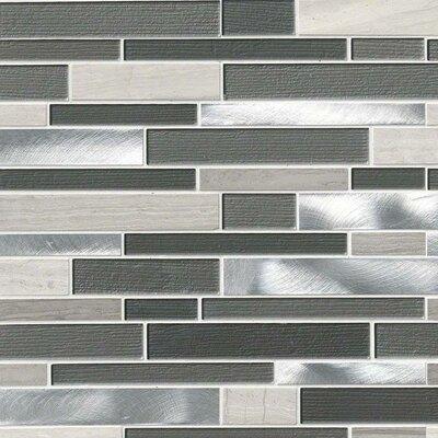 Urban Loft Interlocking Pattern Random Sized Glass/Stone/Metal Tile in Gray