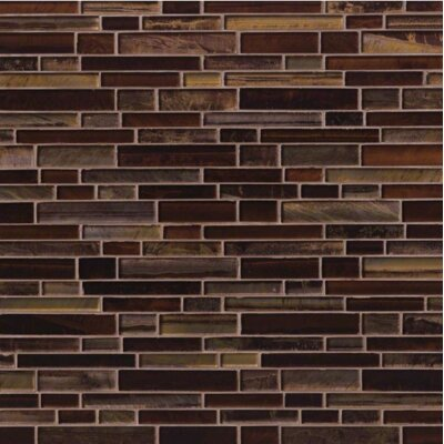 Artista Interlocking Random Sized Glass Mosaic Tile in Brown
