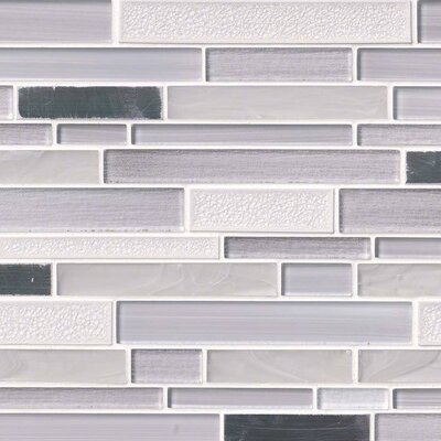 Krystal Interlocking Pattern Random Sized Glass/Metal Mosaic Tile in White/Gray