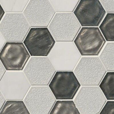 Circa Zirconia Hexagon 3 x 3 Glass/Stone Mosaic Tile in White