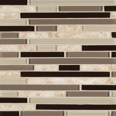Amalfi Cafe Interlocking Pattern Random Sized Glass/Stone Mosaic Tile in Beige/Brown