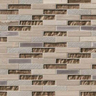 Diamante Brick 0.63 x 3 Glass/Stone Mosaic Tile in Taupe
