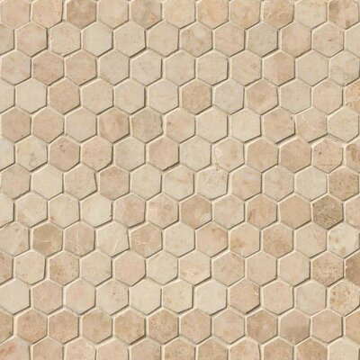Crema Cappuccino Hexagon Polished 1 x 1 Marble Mosaic Tile in Beige