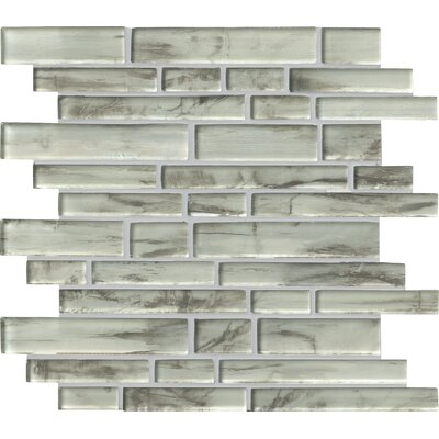 Silvermist Random Sized Glass Mosaic Tile in Gray