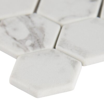Statuario Celano 2 x 2 Glass Mosaic Tile in White