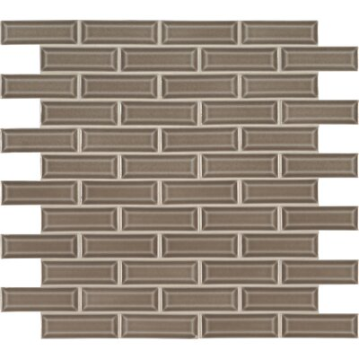 Artisan Taupe 2 x 6 Beveled Glass Mosaic Tile in Gray