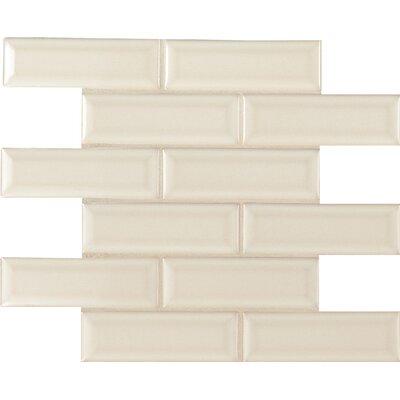 Antique White 2 x 6 Beveled Ceramic Mosaic Tile in Beige