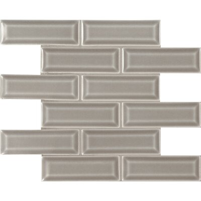 Dove Gray 2 x 6  Beveled Ceramic Mosaic Tile in Gray