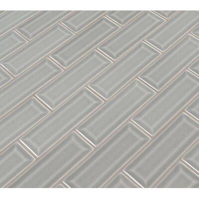 Morning Fog 2 x 6 Beveled Glass Mosaic Tile in Gray