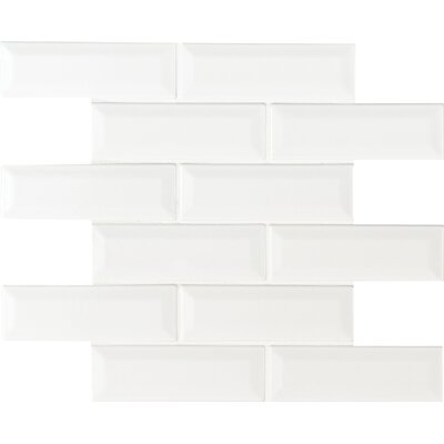 Whisper 2 x 6 Beveled Ceramic Mosaic Tile in White