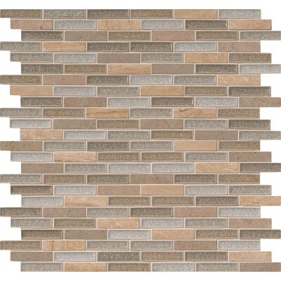 Crystal Vista 1 x 4 Glass/Stone Mosaic Tile in Brown