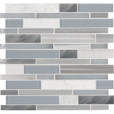 Harlow Random Sized Glass Mosaic Tile in Gray