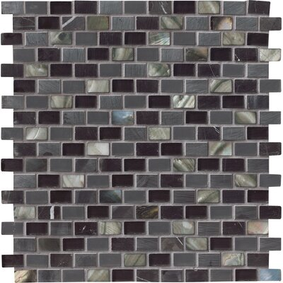 Midnight Pearl Glass/Stone Mosaic Tile in Black