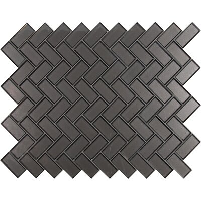 Metallic 11.08 x 13.86 Beveled Glass Mosaic Tile in Gray