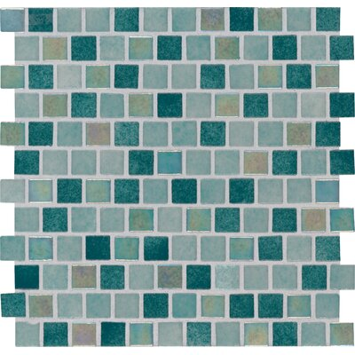 Caribbean Jade 1 x 1 Glass Mosaic Tile in Green