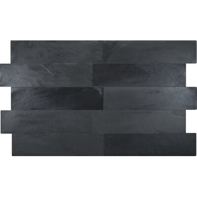 Montauk 6 x 24 Natural Stone Field Tile in Black