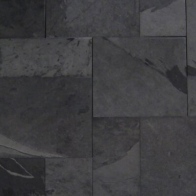 Montauk Gauged 16 x 24 Natural Stone Field Tile in Black