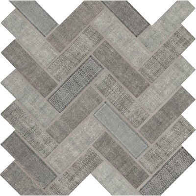 Tektalia 12.8 x 11.02 Glass Mosaic Tile in Gray