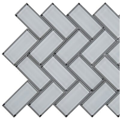 Glass 11.08 x 13.86 Beveled Glass Mosaic Tile in White