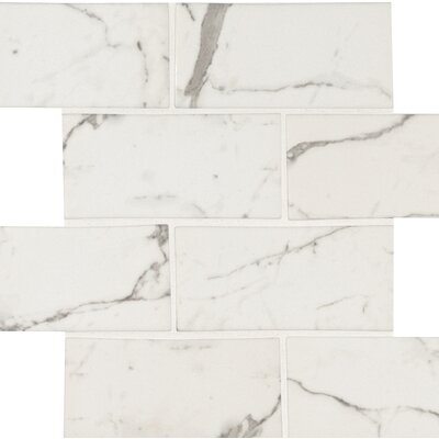 Statuario Celano 3 x 6 Glass Subway Tile in White