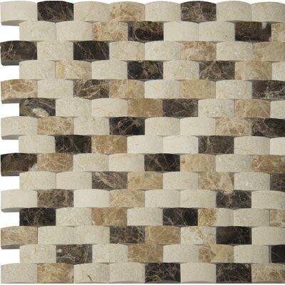 Emperador 1 x 2 Marble Mosaic Tile in Beige